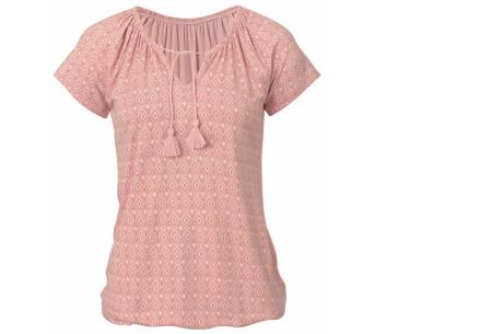 Pattern shirt met kwastjes | Zomers dames T-shirt voor een trendy look roze