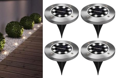 Solar LED tuinspots - set van 4 stuks | Draadloze RVS grondspots op zonne-energie