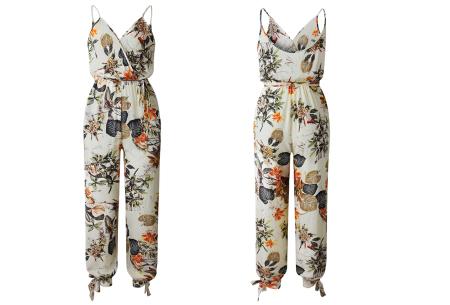 Zomerse jumpsuit | Trendy broekpak voor dames in 8 kleuren Crème bloemen