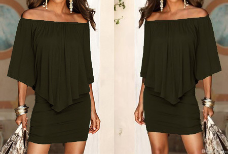 Off shoulder jurk Maat XL -Army groen