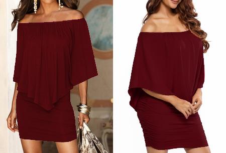 Off shoulder jurk | Voor een chique look met een sexy twist wijnrood