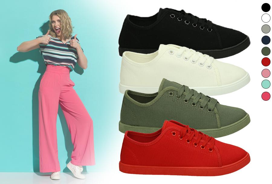Basic dames sneakers in de sale <br/>EUR 11.99 <br/> <a href='https://tc.tradetracker.net/?c=24550&m=1018105&a=230468&u=https%3A%2F%2Fwww.vouchervandaag.nl%2Fbasic-dames-sneakers-schoenen' target='_blank'>bekijk product</a>