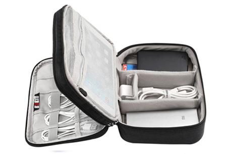 Reistasje voor kabels en gadgets | Orden al je elektronica in deze handige organizer Double XL - zwart