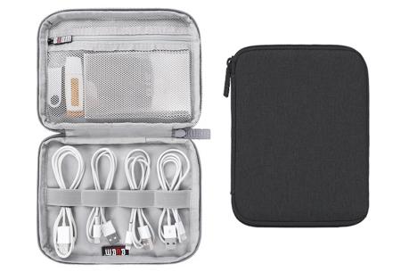 Reistasje voor kabels en gadgets | Orden al je elektronica in deze handige organizer Mini monolayer - zwart