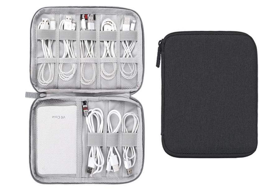 Reistasje voor kabels en gadgets Monolayer - zwart