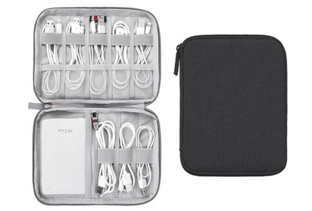 Reistasje voor kabels en gadgets | Orden al je elektronica in deze handige organizer Monolayer - zwart