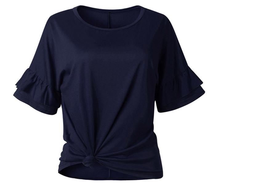 Ruffle sleeve T-shirt Maat XL - Navy blauw