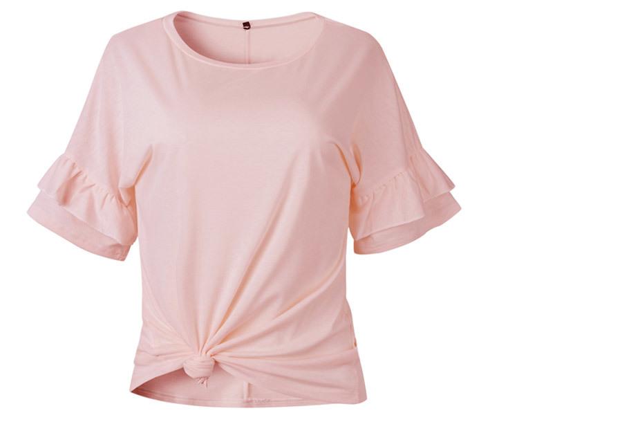 Ruffle sleeve T-shirt Maat XL - Roze