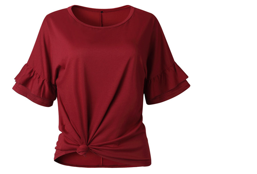 Ruffle sleeve T-shirt Maat XL - Wijnrood