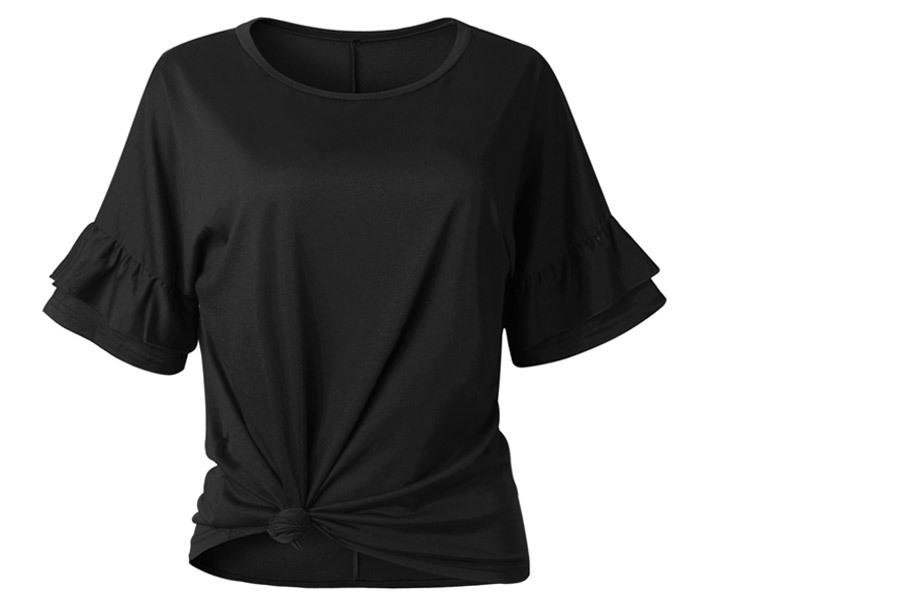 Ruffle sleeve T-shirt Maat XL - Zwart