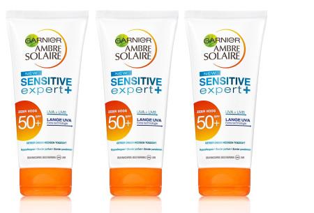 Zonnebrandcrèmes van L'Oréal & Garnier Ambre Solaire - set van 3 of 4 stuks in de aanbieding 3x Ambre Solaire gezicht f50
