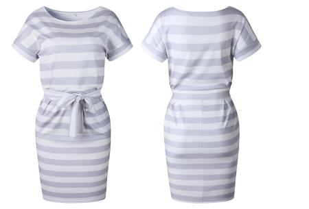 Striped dress | Trendy zomerjurk met streepjes en strik Grijs