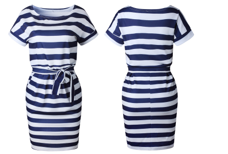 Striped dress | Trendy zomerjurk met streepjes en strik Navy