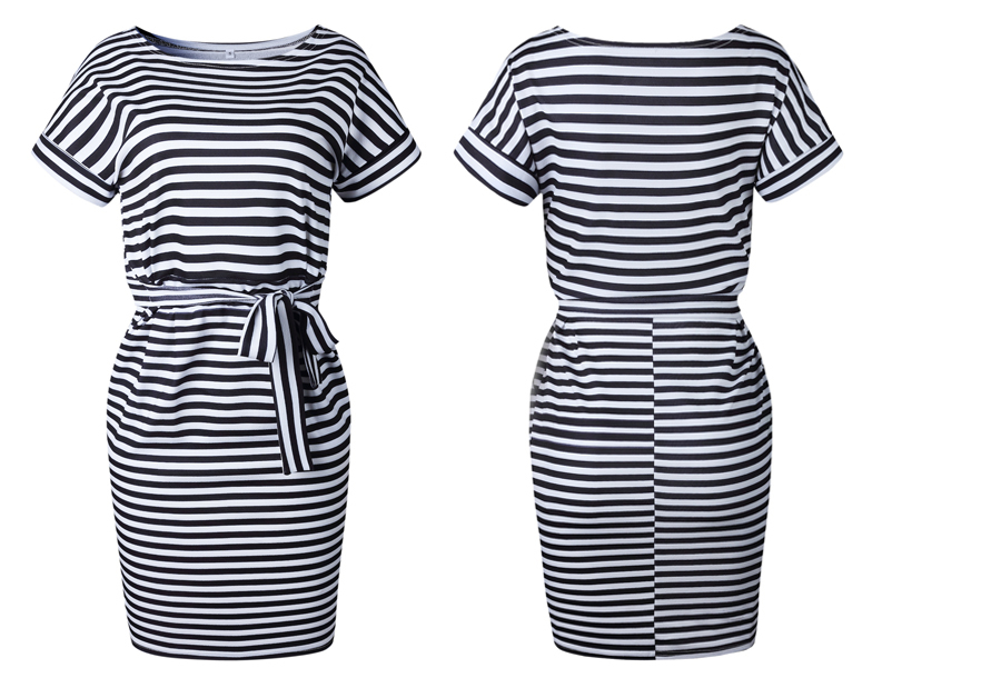 Striped dress - Maat XS - Zwart