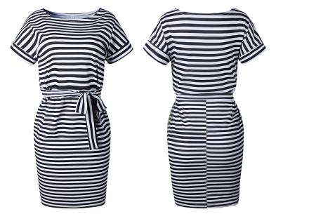 Striped dress | Trendy zomerjurk met streepjes en strik Zwart