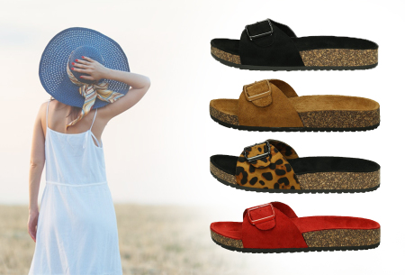 Suède look slippers in de sale