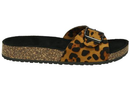 Suède look slippers | Hippe slippers met comfortabel & zacht voetbed - in 6 leuke kleuren Luipaardprint