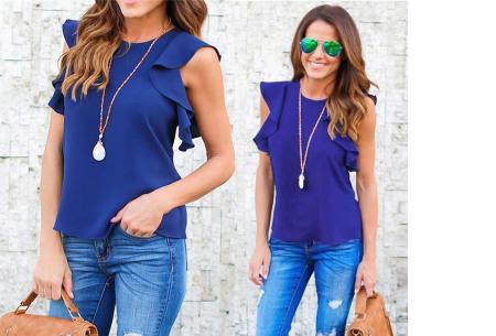 Ruffle top voor dames | Trendy & chique shirt met fladderende mouwen blauw
