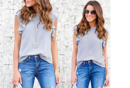 Ruffle top voor dames | Trendy & chique shirt met fladderende mouwen grijs