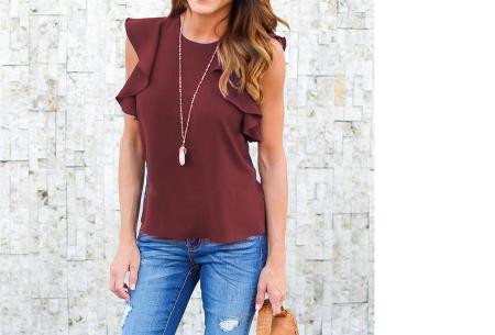 Ruffle top voor dames | Trendy & chique shirt met fladderende mouwen wijnrood
