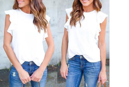 Ruffle top voor dames | Trendy & chique shirt met fladderende mouwen wit
