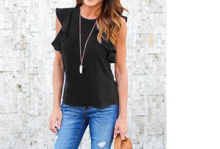 Ruffle top voor dames | Trendy & chique shirt met fladderende mouwen zwart