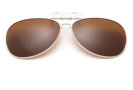 Clip-on aviator zonnebril | Van gewone bril naar zonnebril dankzij handig clipsysteem donkerbruin