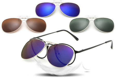 Clip-on aviator zonnebril nu spotgoedkoop in de aanbieding