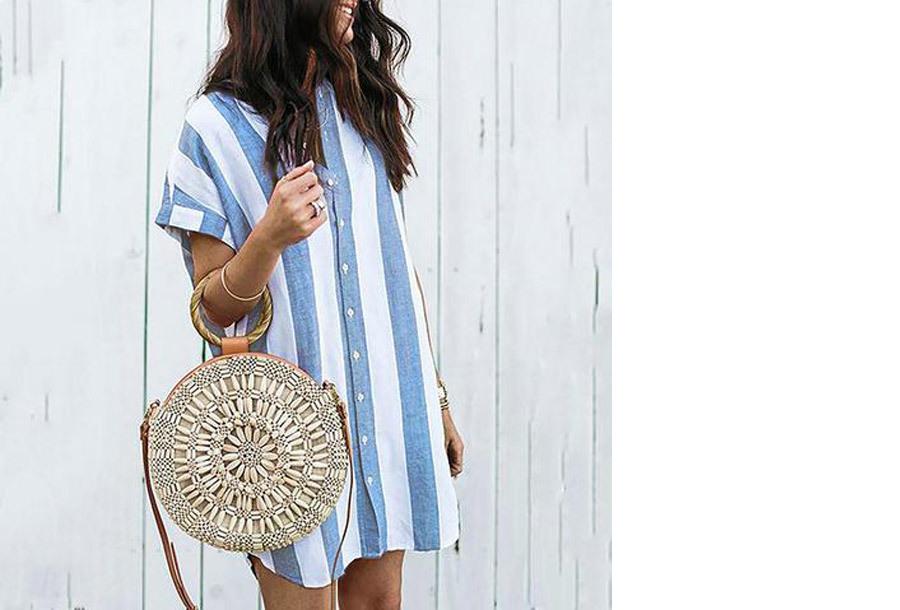 Gestreepte lange blouse - Maat L/XL - Blauw