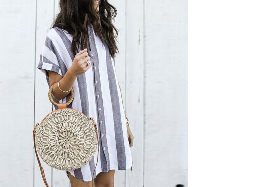 Gestreepte lange blouse - Maat L/XL - Grijs