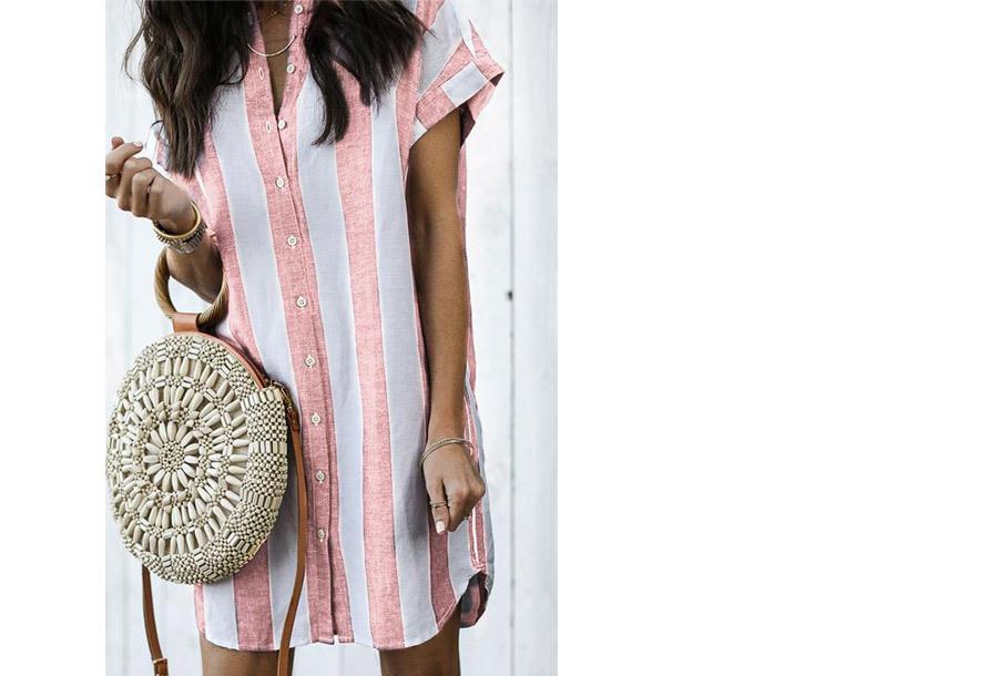 Gestreepte lange blouse - Maat L/XL - Roze
