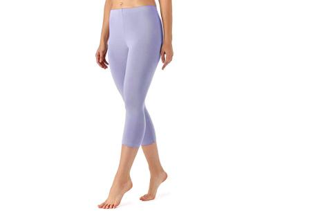 Driekwart legging | Comfortabele dameslegging voor fitness, onder een jurk of gewoon als broek Paars