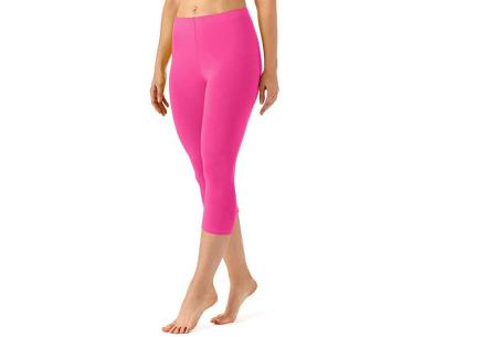 Driekwart legging | Comfortabele dameslegging voor fitness, onder een jurk of gewoon als broek Roze