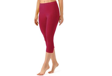 Driekwart legging | Comfortabele dameslegging voor fitness, onder een jurk of gewoon als broek wijnrood