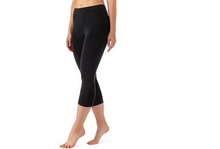 Driekwart legging | Comfortabele dameslegging voor fitness, onder een jurk of gewoon als broek Zwart