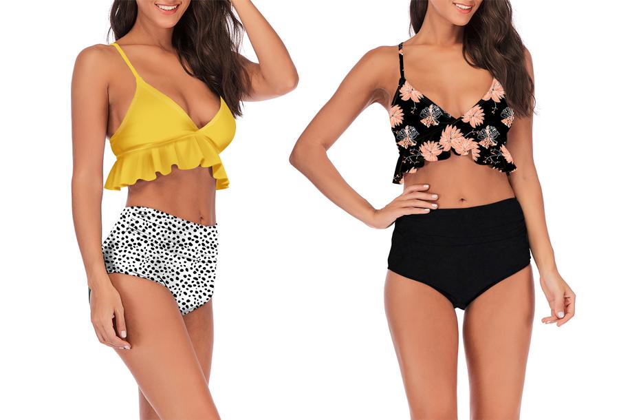 High waist ruffle bikini in de sale