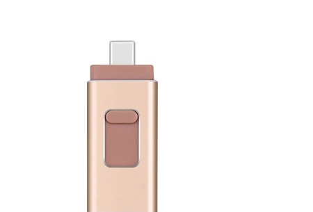 4-in-1 Flash Drive voor micro USB, type C & Lightning | Extern geheugen voor je smartphone of tablet Goud