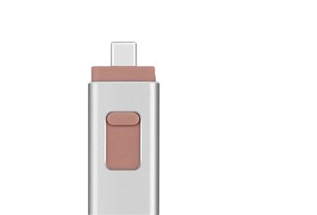 4-in-1 Flash Drive voor micro USB, type C & Lightning | Extern geheugen voor je smartphone of tablet Zilver