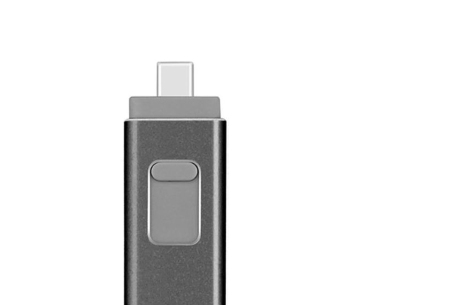 4-in-1 Flash Drive voor micro USB, type C & Lightning | Extern geheugen voor je smartphone of tablet Zwart