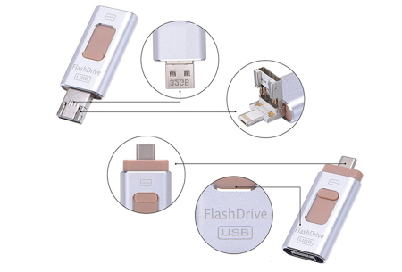 4-in-1 Flash Drive voor micro USB, type C & Lightning | Extern geheugen voor je smartphone of tablet