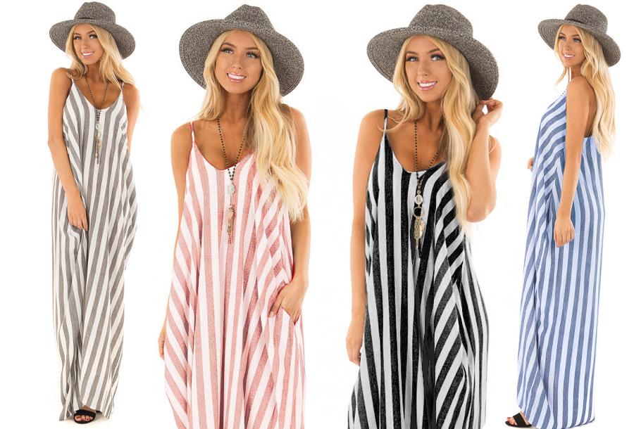Dagaanbieding - Striped maxi dress in de sale dagelijkse koopjes