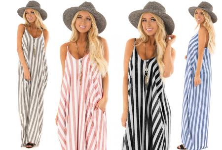 Striped maxi dress met heel veel korting