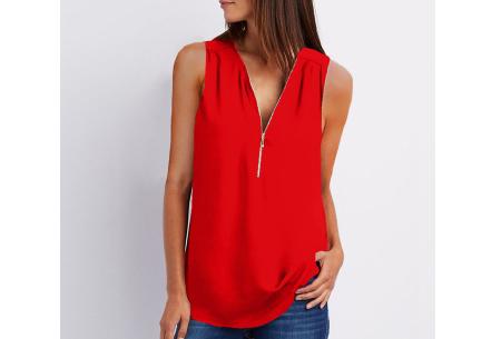 Zipper tanktop | Hippe mouwloze damesblouse met rits in 11 kleuren Rood