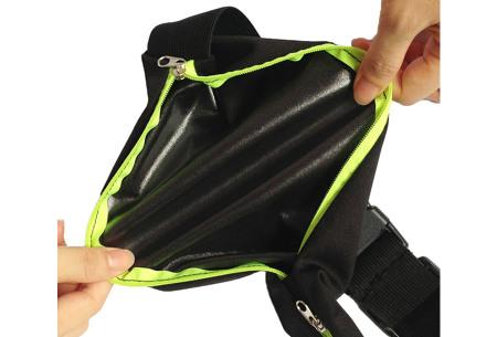 Sportriem met opbergvakken   Handig fitness heuptasje voor o.a. je telefoon, sleutels, etc.