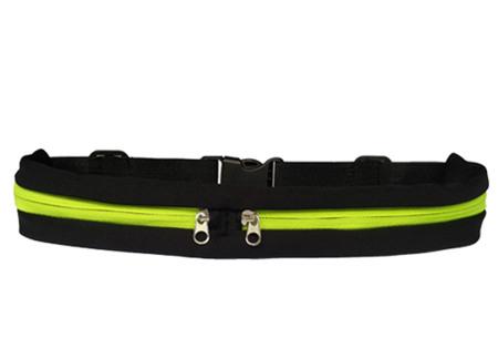 Sportriem met opbergvakken   Handig fitness heuptasje voor o.a. je telefoon, sleutels, etc. groen