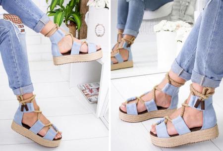 Lace up plateau sandalen | Vrolijke damesslippers met touw in 5 kleuren Blauw