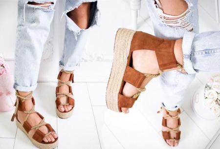 Lace up plateau sandalen | Vrolijke damesslippers met touw in 5 kleuren Bruin