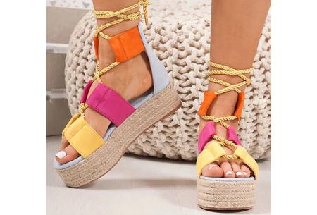 Lace up plateau sandalen | Vrolijke damesslippers met touw in 5 kleuren Multicolor blauw