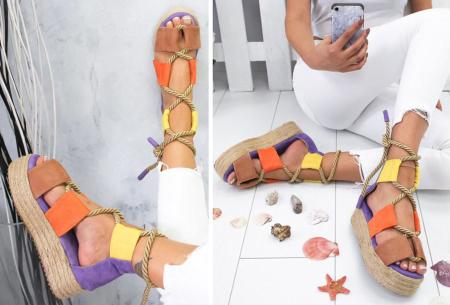 Lace up plateau sandalen | Vrolijke damesslippers met touw in 5 kleuren Multicolor paars