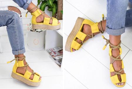 Lace up plateau sandalen | Vrolijke damesslippers met touw in 5 kleuren Geel